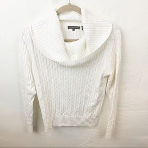 Jeanne Pierre l White Cable Knit Cowl Neck Sweater